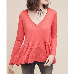 Anthro Deletta coral Thea ruffled peplum top